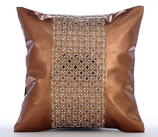 Diseñador Cobre fundas para almohadas, cuero metalizado de ...