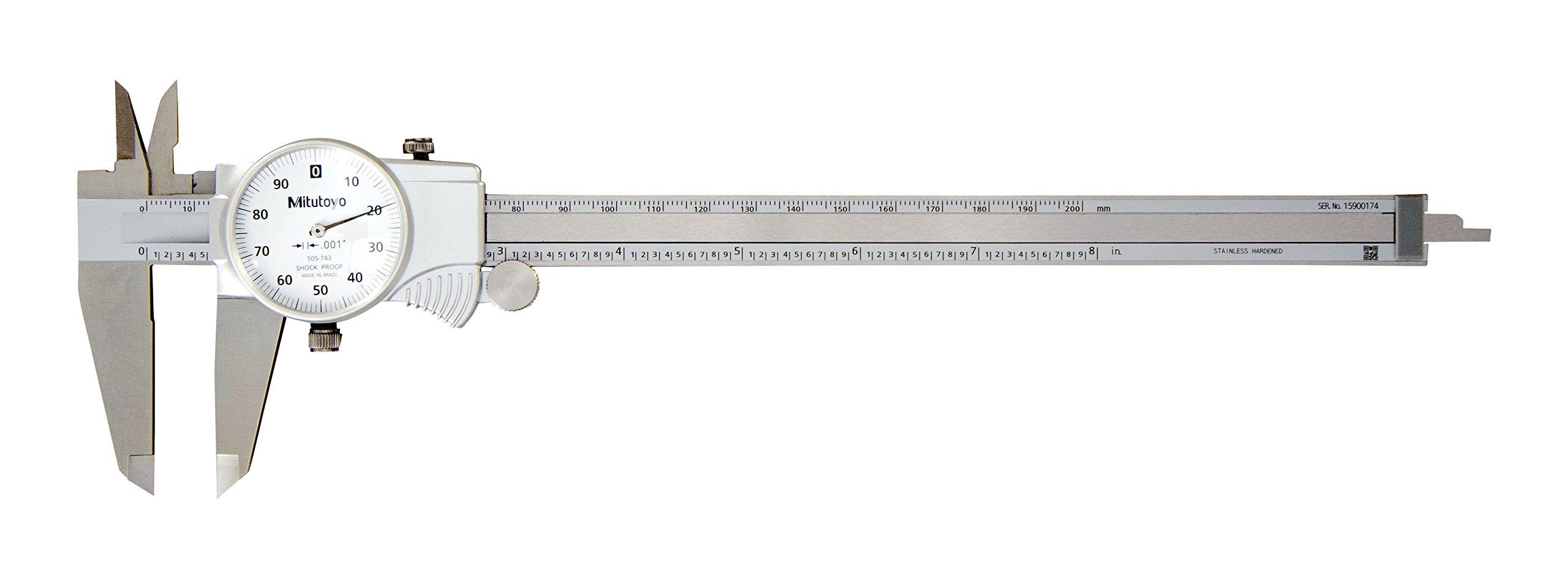 Mitutoyo 505-743 Dial Caliper, 0.1'' per Rev, 0-8'' Range, 0.001'' Accuracy
