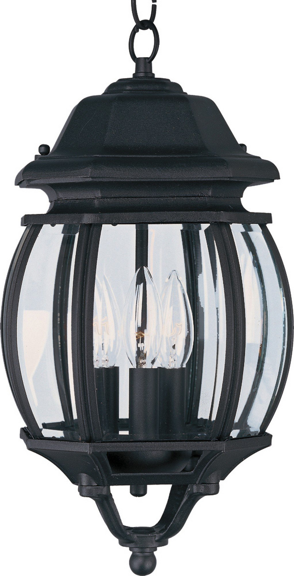 Maxim 1036BK Crown Hill 3-Light Outdoor Hanging Lantern, Black Finish, Clear Glass, CA Incandescent Incandescent Bulb , 40W Max., Dry Safety Rating, Standard Dimmable, Fabric Shade Material, Rated Lumens