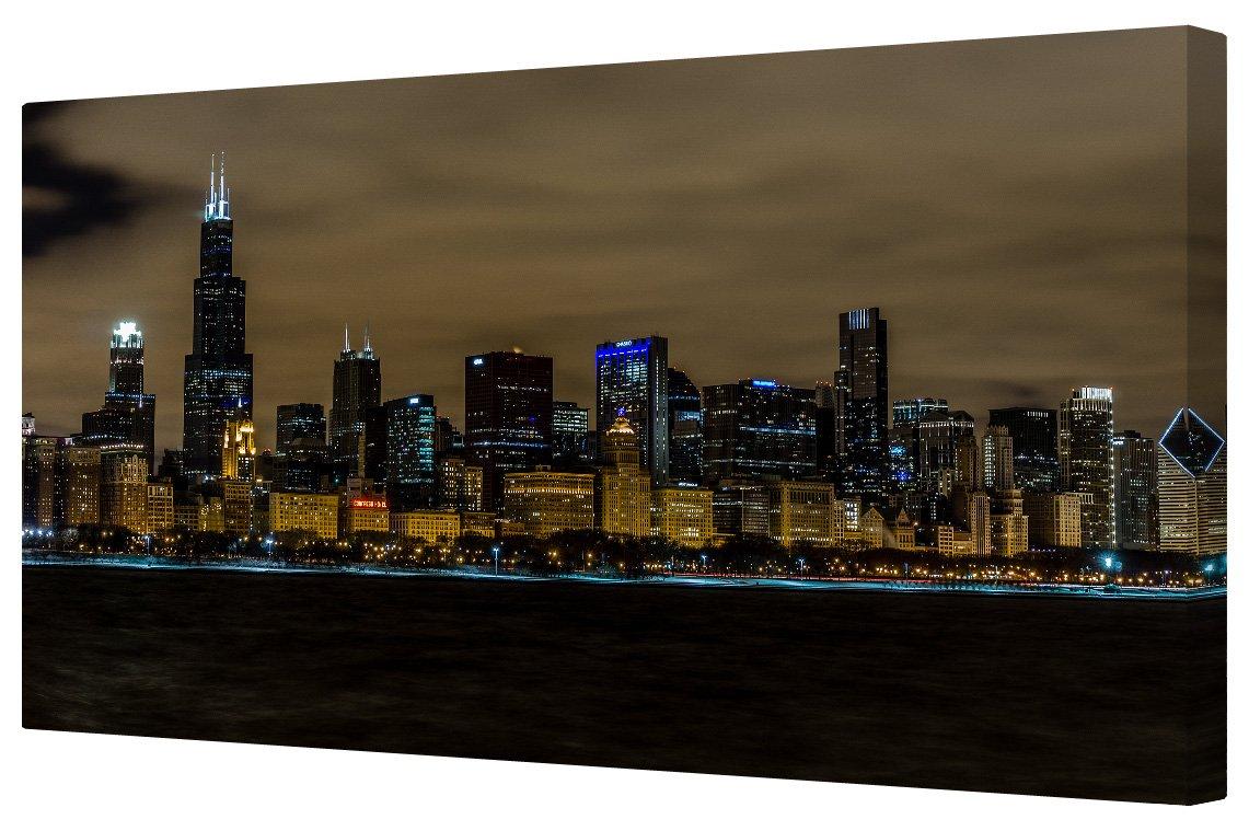 Horizonte de Chicago en la noche Impresión del Giclee lienzo 35,56 ...