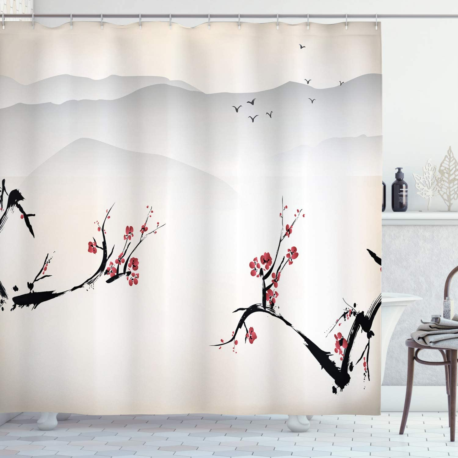 Ambesonne Asian Shower Curtain, Japanese Nature Landscape National Sakura Flower Over Himalayas and Flying Gulls, Cloth Fabric Bathroom Decor Set with Hooks, 70
