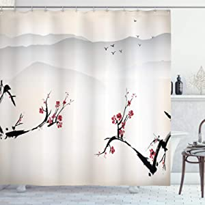 "Ambesonne Asian Shower Curtain, Japanese Nature Landscape National Sakura Flower Over Himalayas and Flying Gulls, Cloth Fabric Bathroom Decor Set with Hooks, 75"" Long, Beige Red"