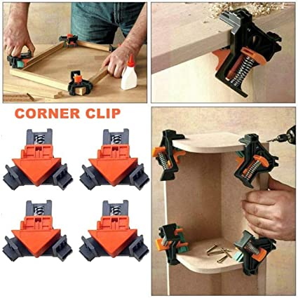 90 Degree Right Angle Clamps Adjustable Swing Corner Clamps Set of 4 Picture Frame Quick Fixing Angle Clips Multi-function Corner Clip Fixer Tool for Woodworking Welding,Drilling,Making Cabinets