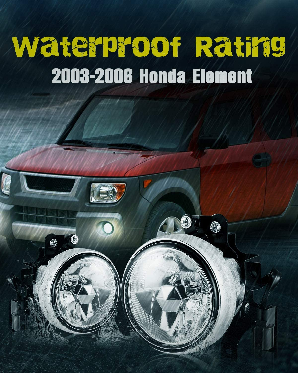 Clear Glass Lens 1 Pair AUTOFREE Fog Lights for 2003 2004 2005 2006 Honda Element with H3 12V55W Bulbs Fog Lamps Assembly Replacement