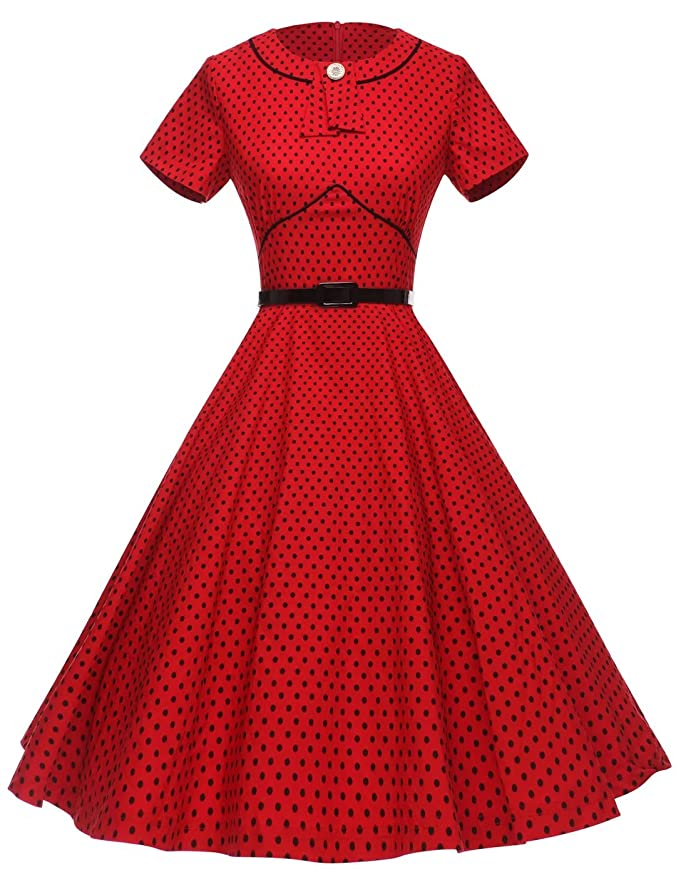 Vintage Christmas Gift Ideas for Women GownTown Womens 1950s Polka Dot Vintage Dresses Audrey Hepburn Style Party Dresses $35.98 AT vintagedancer.com
