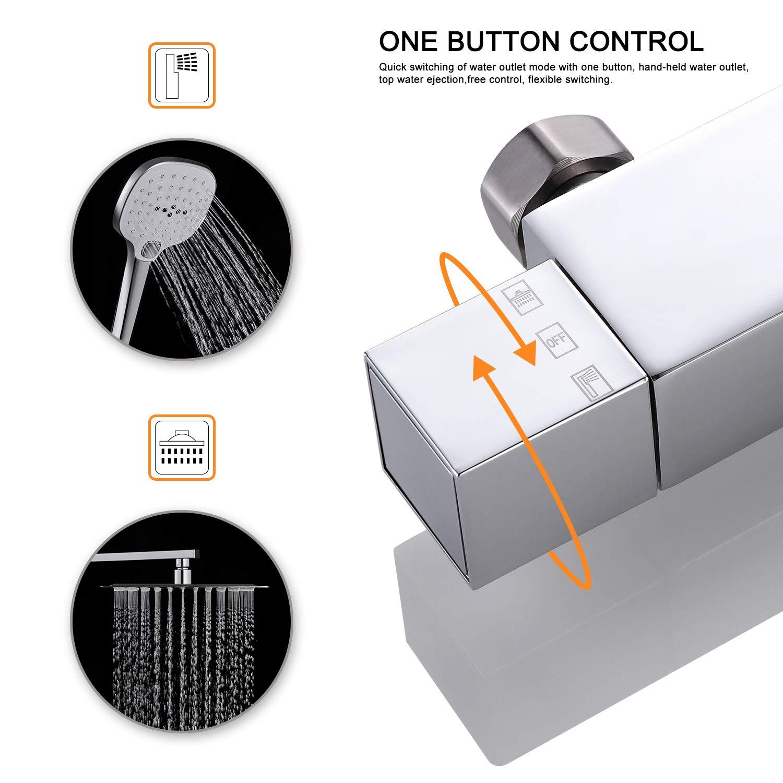 3 Strahlarten Handbrause und Verstellbarer Duschstange Brausegarnitur Duscharmatur Dusche Duschs/äule f/ür Bad WOOHSE Duschsystem mit Thermostat Regendusche Duschset Edelstahl Duschs/äule mit Kopfbrause