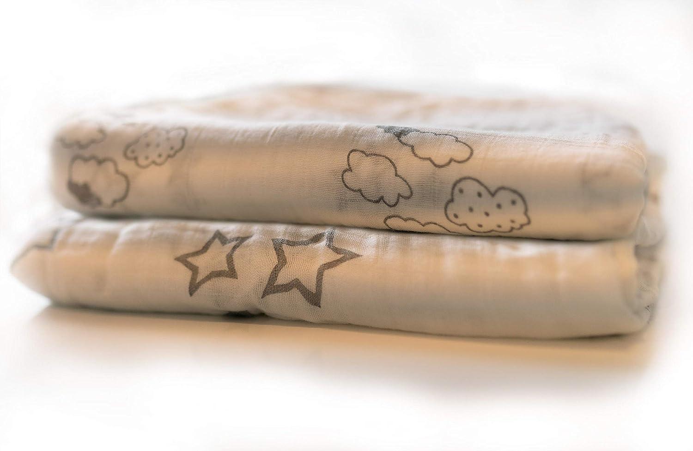 Kinderwagendecke 4-lagig Babydecke Musselin Pucktuch 115x115cm Einschlagdecke Kinderdecke Junge /& M/ädchen Grau Sternen /& Wolken Krabbeldecke Baby Kuscheldecke bestickt mit Namen//Geburtsdatum
