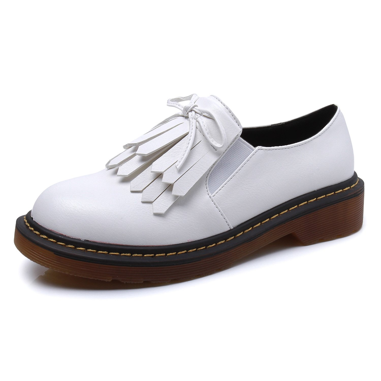 Smilun Girl¡¯s Derby Classic Lace-up Shoes Smooth Leather Flats Office Business Dress Shoes for Girl White Size 6 B(M) US