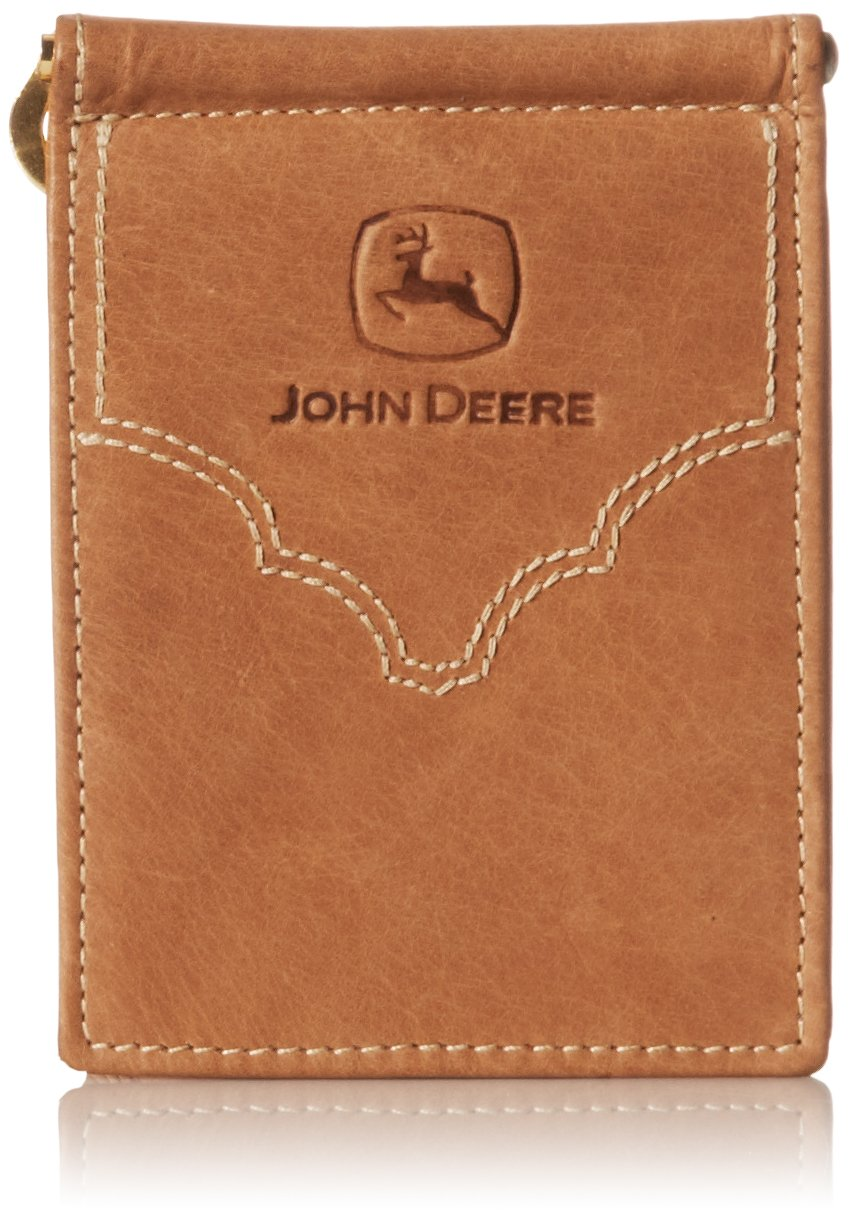 John Deere Men's Leather Front Pocket Wallet, Brown, One Size