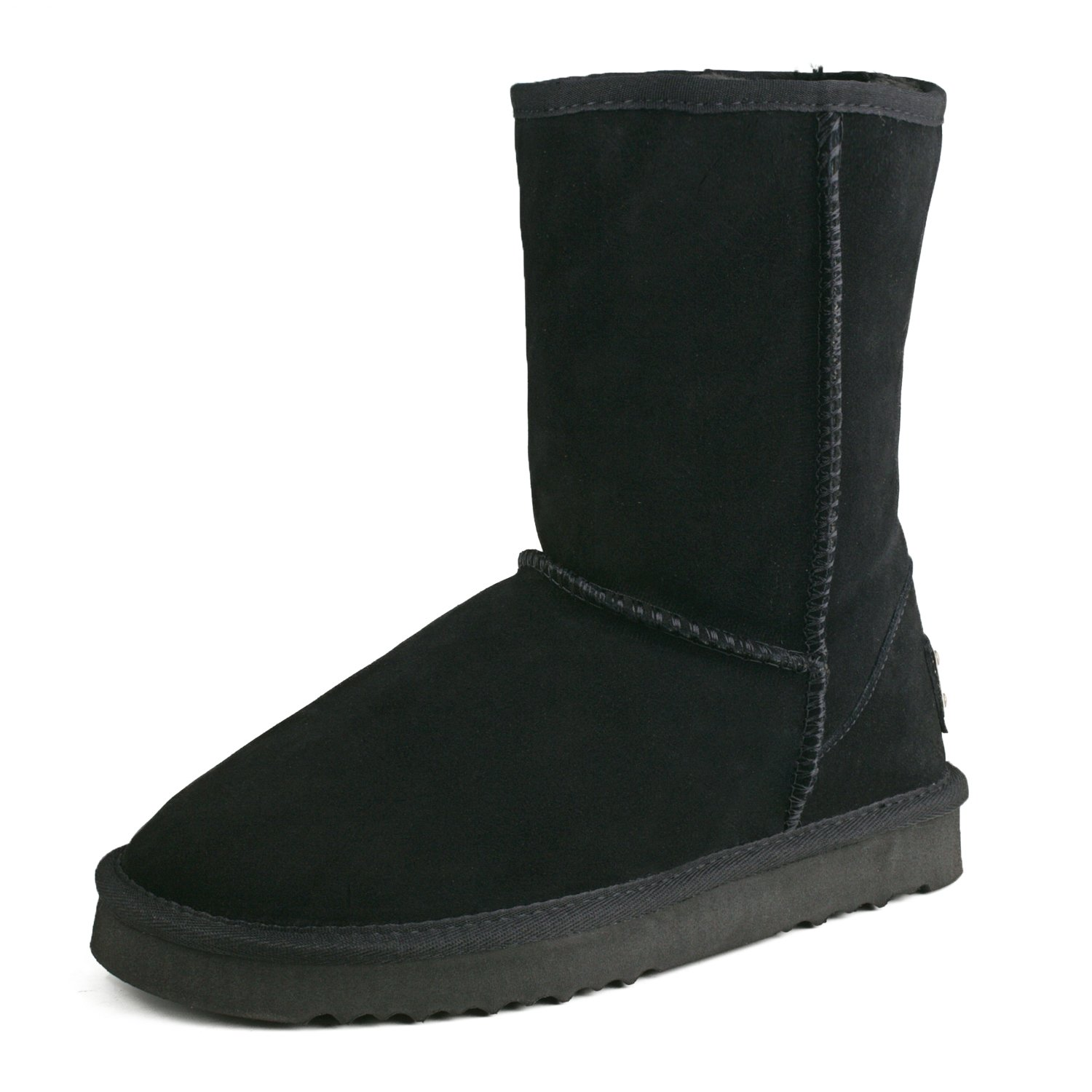 Black(f) Ausland--Women's Half Snow Boots, with Water-Resistant Vamp, Thick Fur Lining and Lightweight Rubber Sole