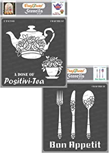 CrafTreat Stencils for Painting on Wood, Paper, Fabric, Floor, Wall and Tile - Dose of Positivi-Tea and Bon Appetit - 2 Pcs - 6x6 Inches Each - Reusable DIY Art and Craft Stencils for Home Décor