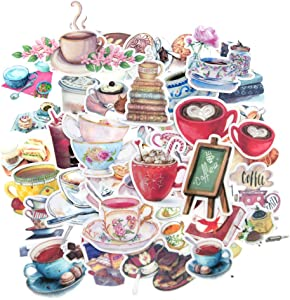 Waterproof Coffee Cup Vinyl Stickers Small for Laptop, Planner, Scrapbook, Coffee Mug, Water Bottle/Coffee Tea Pot Scrapbook Stickers for Coffee Lovers/Coffee Favor Stickers Decals Pack-38PCS