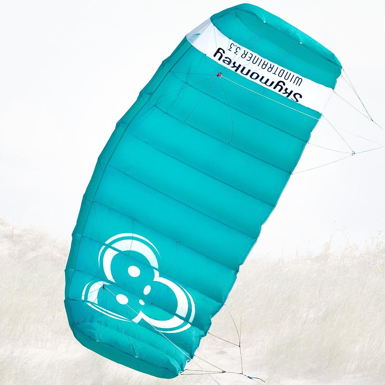 Skymonkey Windtrainer 3.3 Parafoil 4-Cordones Cometa acrobática - Envergadura: 330 cm