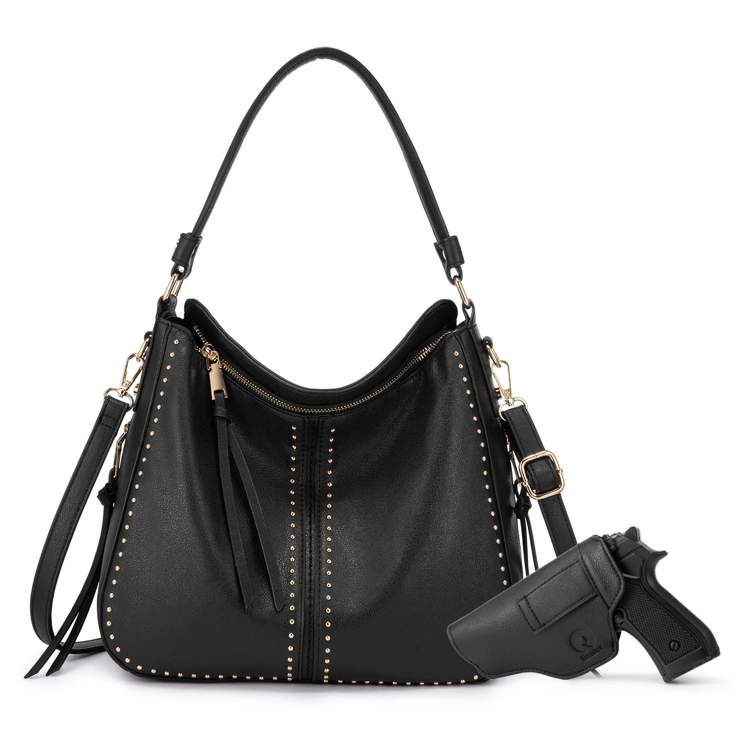 Hobo Handbags Concealed Carry Purse Women Crossbody Shoulder Bag Tote Bag with Faux Leather Holster