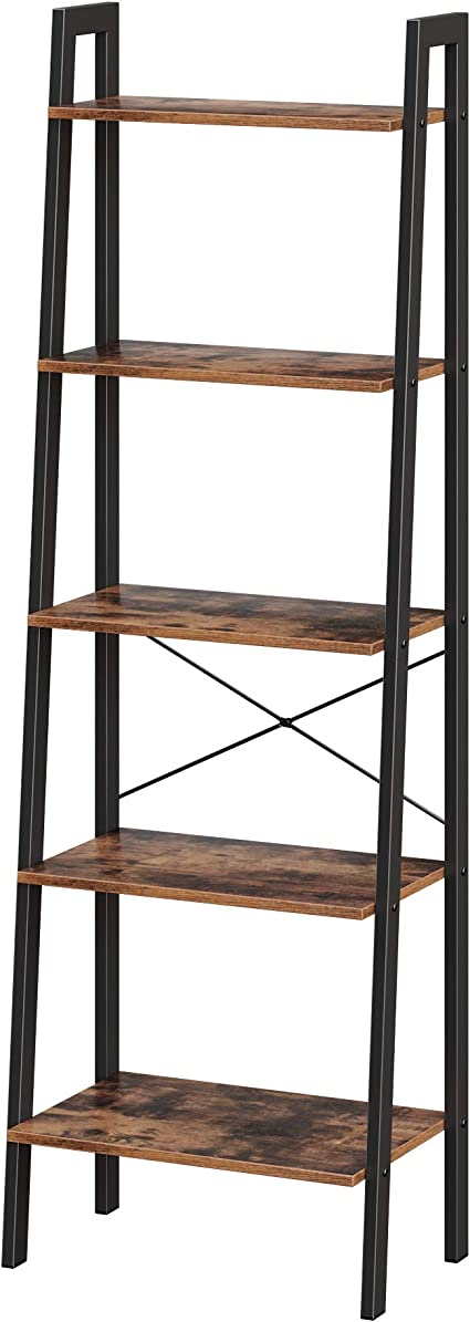 VASAGLE - Estantería de pie Vintage con 5 estantes, con Marco de Metal, fácil de Montar, para salón, Dormitorio, Cocina, 56 x 172 x 34 cm, LLS45X