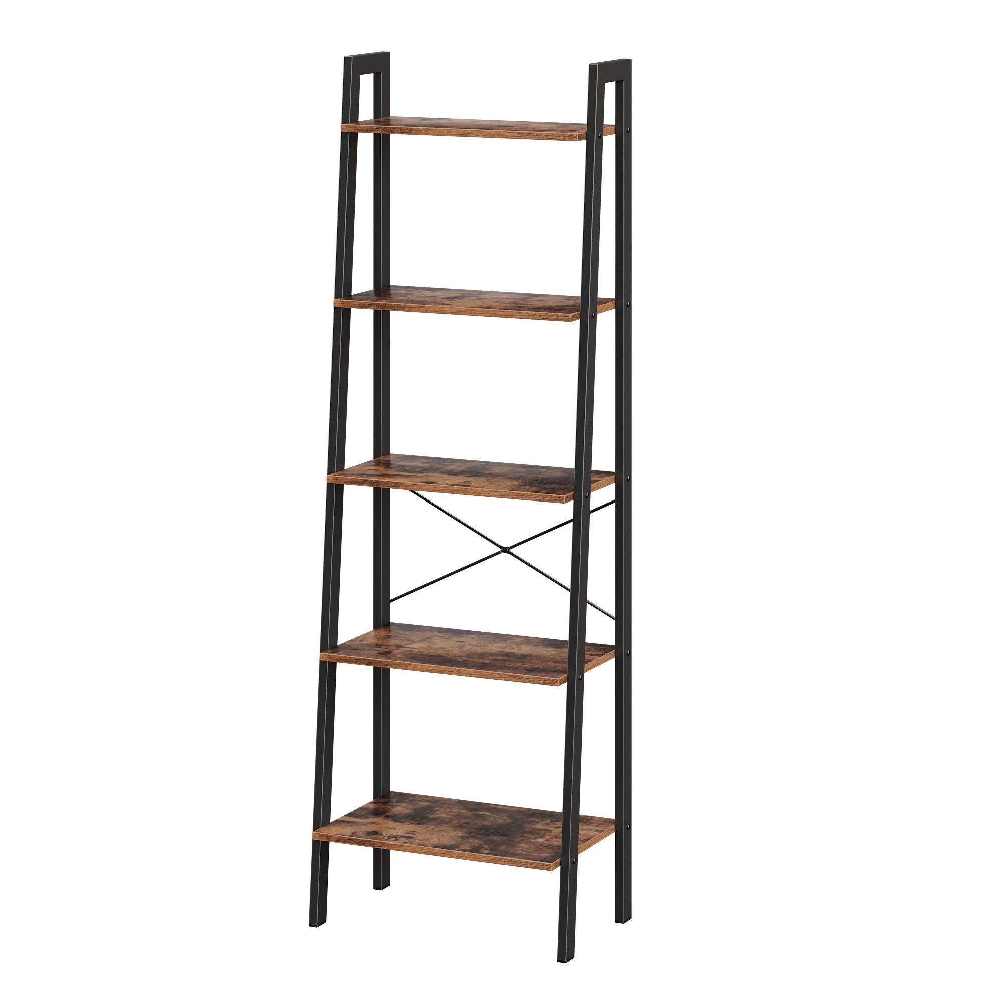 VASAGLE Ladder Shelf, 5-Tier Industrial Bookcase, Storage Unit, with Metal Frame, for Living Room, Kitchen, Rustic Brown LLS45X