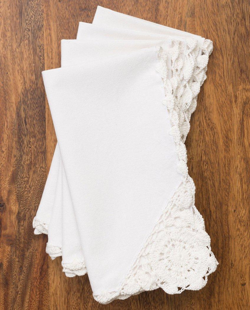 4月コーネルRomanticかぎ針編みトリムナプキンinホワイト – 4のセット   B01NASWI3P