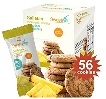 Sweetwell Sugar Free Cookies, Oatmeal with Pineapple And Cinnamon - 56 Units (14 Packs