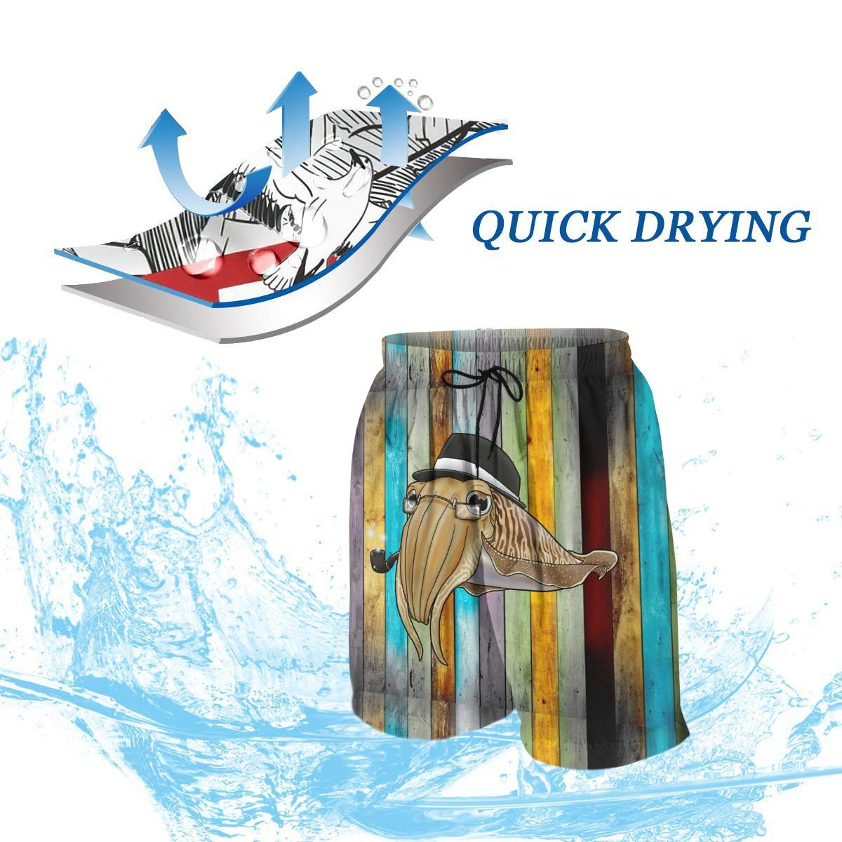 QZqDQ Detective Cuttlefish Teenagers Fashion Quick-Drying Beach Pants