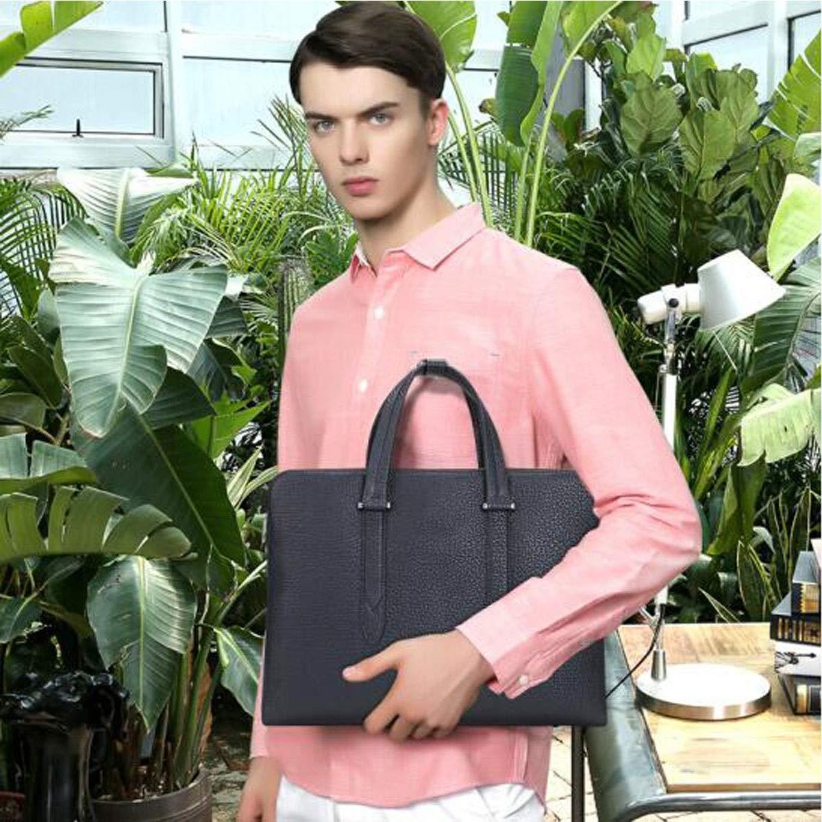 Leather Tote 8haowenju Briefcase Color : Blue Blue Size: 37629cm Fashion Business Bag