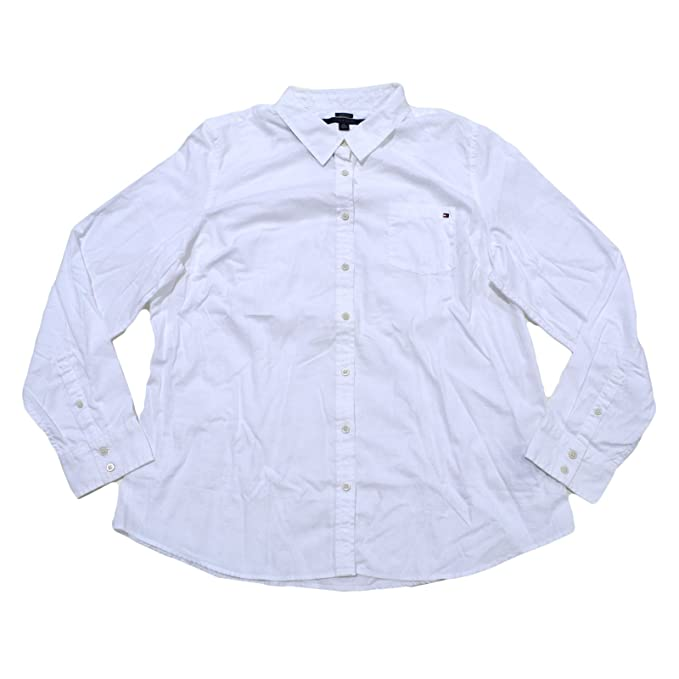 Tommy Hilfiger Camisa de Popelina de Manga Larga para Mujer Blanco Blanco S eac4867fc86