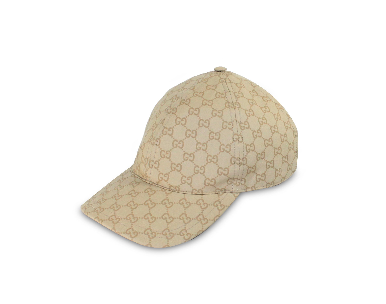 Gucci GG Coated Cotton Web Stripe Baseball Cap, Beige 387561 (M (Medium))