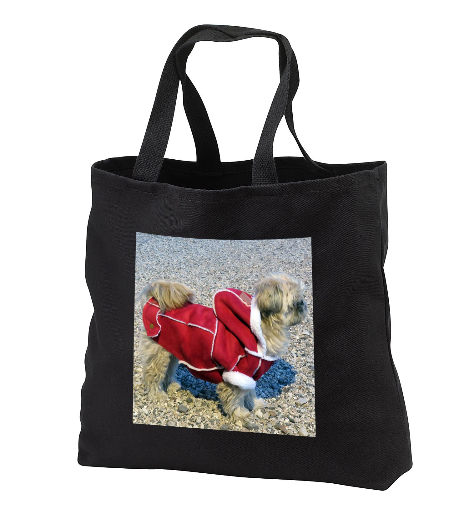 Jos Fauxtographee- Shih Tzu in Red Coat - An adorable Shih Tzu dog modeling her red winter coat - Tote Bags - Black Tote Bag JUMBO 20w x 15h x 5d (tb_284197_3)