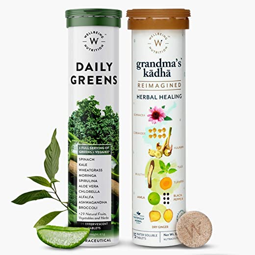 Wellbeing Nutrition Organic Daily Greens - Whole Food Multivitamin and Grandma's Kadha- Ayurvedic Herbal tea for Cold, Cough, Flu| Natural Immunity Booster (15 x 2 Effervescent Tablets)