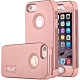 iPhone SE Case Pandawell™ Shockproof Hybrid High Impact Hard Plastic+Soft Silicon Rubber Armor Defender Case Cover for Apple iPhone SE / 5S - All Rose Gold