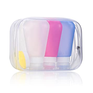 79bfc84313 3 Pack Silicone Travel Bottles Set Toiletries Liquid Containers with Clear  Toiletry Bag