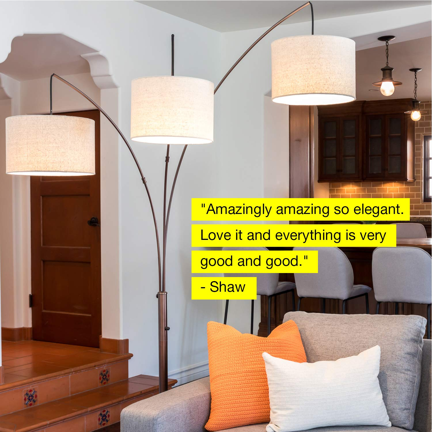 Brightech Trilage - Modern LED Arc Floor Lamp with Marble Base - Free Standing Behind The Couch Lamp for Living Room - 3 Hanging Lights, Great for Reading - Oil Rubbed Bronze by Brightech (Image #6)