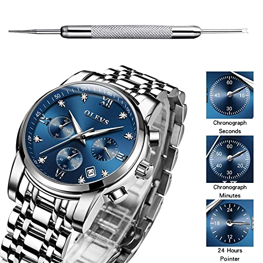 Mens Chronographs Sport Wrist Watches on Sale Luxury Silver Tungsten Steel Band Watch for Business Casual