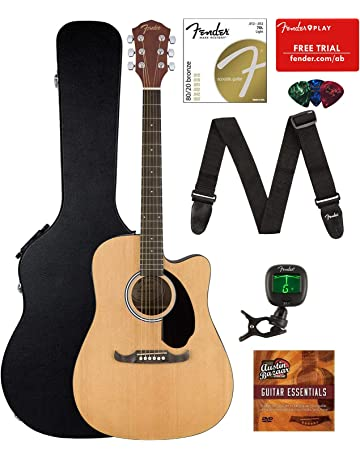 Fender FA-125CE Dreadnought Cutaway Acoustic-Electric Guitar Bundle with Hard Case, Strap