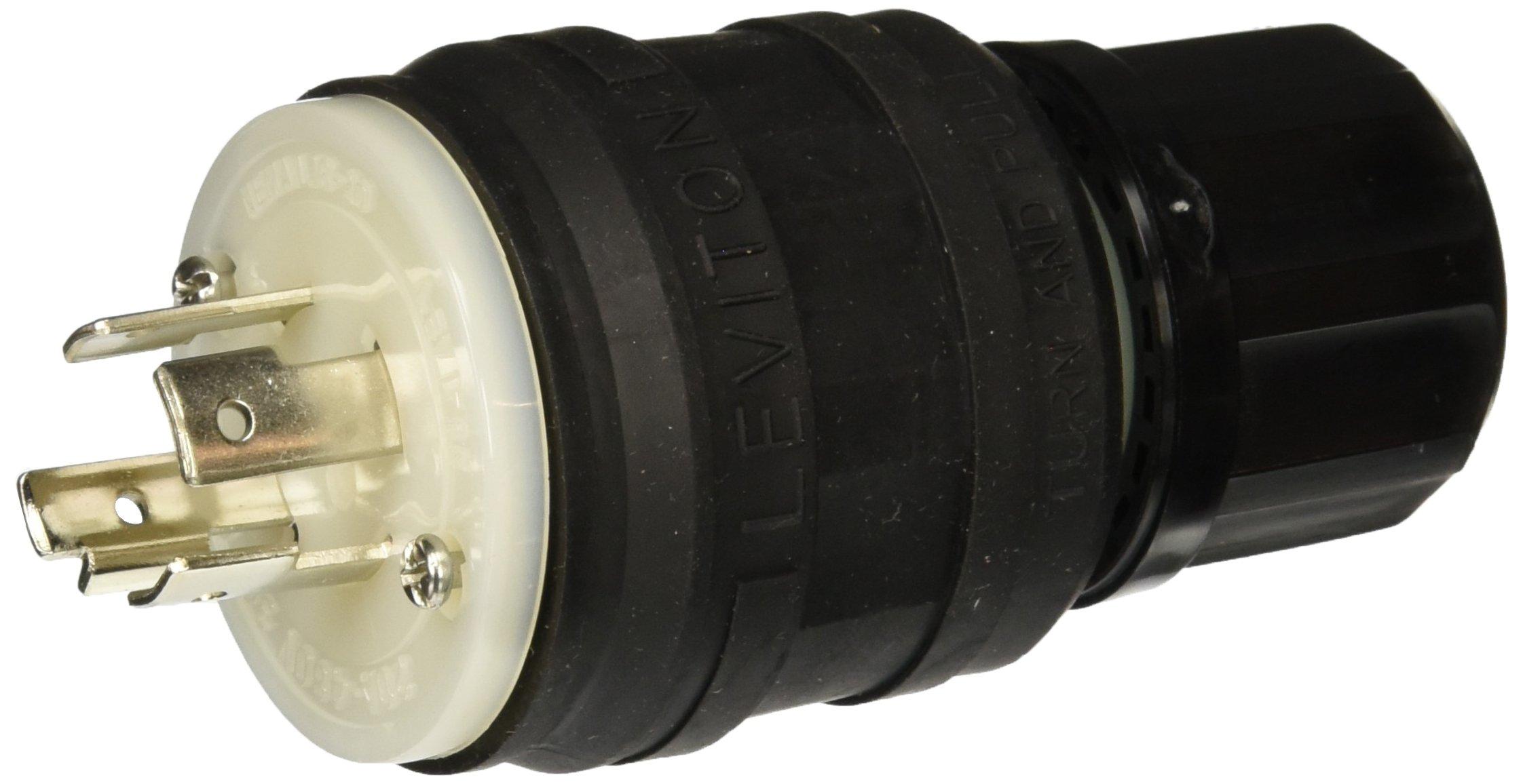 Leviton 26W76-B 20 Amp, 480 Volt, 3 Phase Y, Locking Plug, Industrial Grade, Grounding, Wetguard, Black