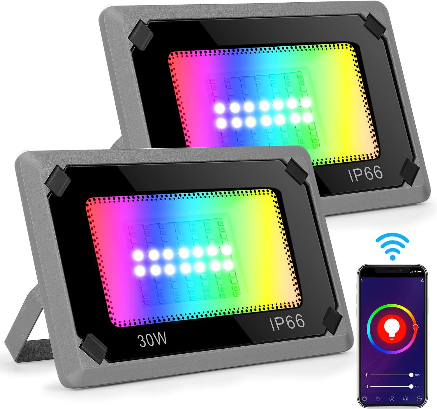 Flood Lights Outdoor 2 Pack, LED Flood Light 30W, Color Changing RGBCW Floodlight 2300LM 6500K, IP66 Waterproof WiFi Dimmable Wall Washer Light Christmas Lights for Yard Garden Stage Party Landscape