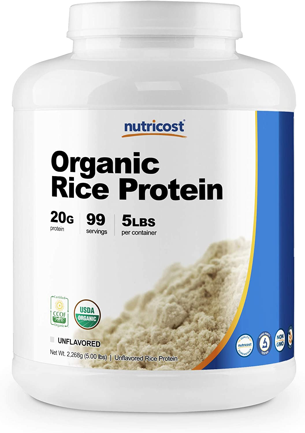 Nutricost Organic Rice Protein Powder 5lbs (Unflavored) - Certified USDA Organic, 20G of Rice Protein Per Serv, Non-GMO: Health & Personal Care