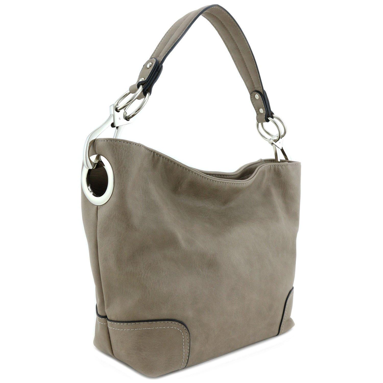 Women's Hobo Shoulder Bag with Big Snap Hook Hardware Stone