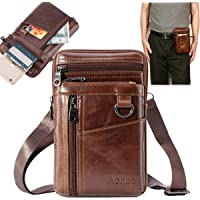 Aonet Men Purse Cell Phone Holster Case Belt Clip Phone Pouch Bag for iPhone, Samsung, Google and Other Phones Leather…
