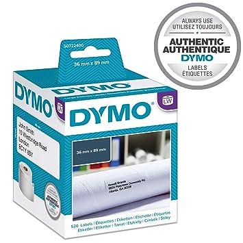 Dymo LabelWriter- Rollos de etiquetas, 36x89 mm, Negro sobre Blanco , Paquete de 2 x 260 Etiquetas: Dymo: Amazon.es: Oficina y papelería