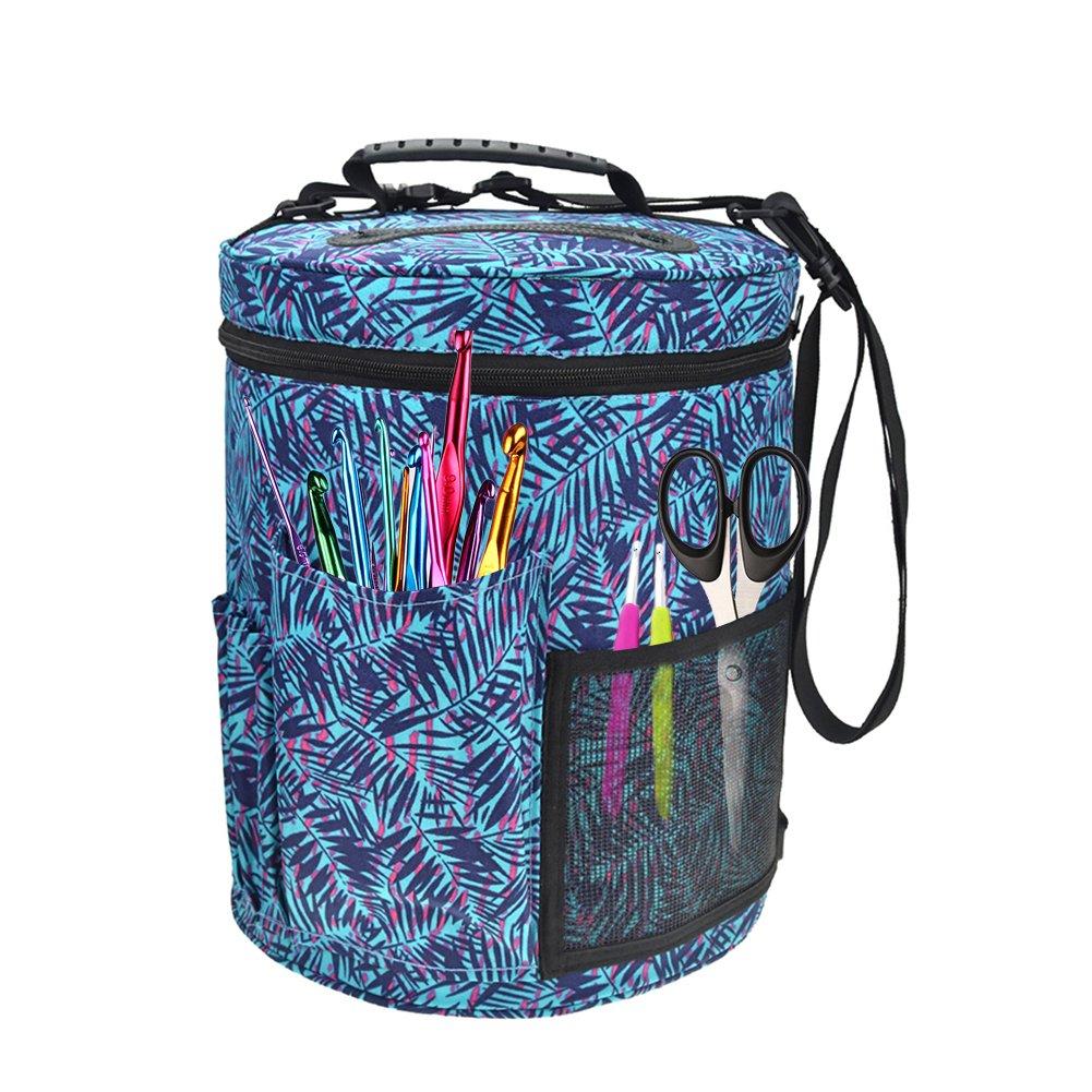 TwinkBling Filato Storage organizer per lavoro a maglia grande tela borsa per riporre accessori per lavoro a maglia e uncinetto A:kb005