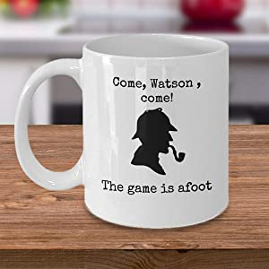 Book themed coffee mug Come Watson The game is afoot Famous Sherlock Holmes quote detective hat pipe Sir Arthur Conan Doyle gifts