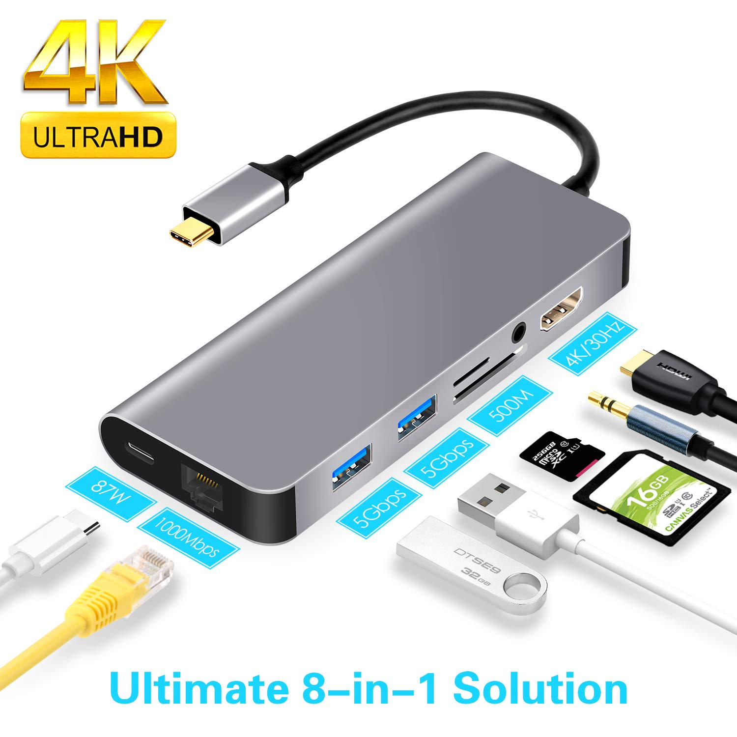 8 in 1 USB C Ethernet Hub, USB C to HDMI Adapter Compatible with MacBook/MacBook Pro,Samsung DeX for Galaxy S9/S8/Note 9/8,Nintendo Switch
