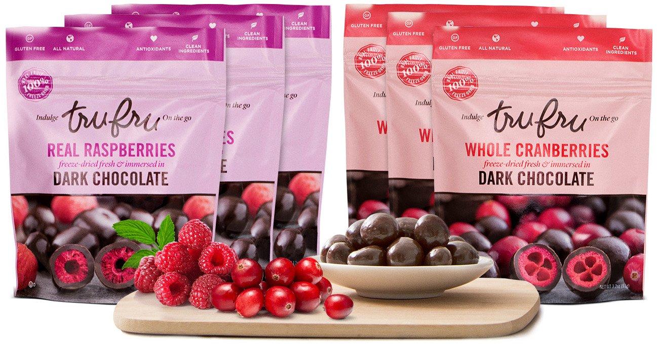 Tru Fru Dark Chocolate Dipped Freeze-Dried Fruit, Super Fruit Pack, 6-Pack Case (3-Cranberry packs and 3-Raspberry packs)