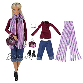 Barwa Evening Wedding Party Clothes Casual Dress Outfit Set For Barbie Doll Gift