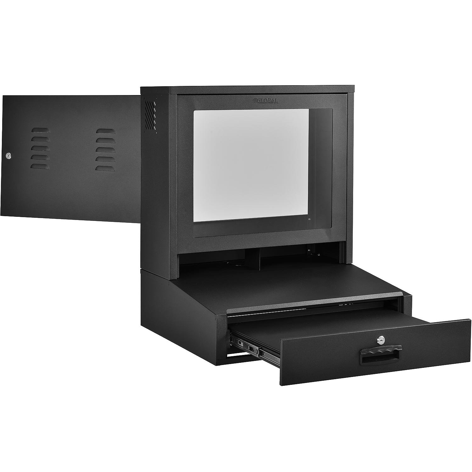 LCD Counter Top Security Computer Cabinet, Black, 24-1/2''W x 22-1/2''D x 29-1/2''H