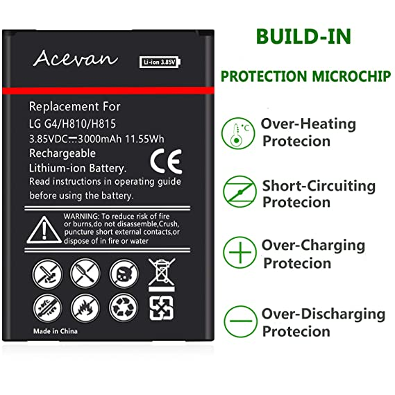 LG G4 Battery Acevan 3000mAh Li-ion Battery Replacement for LGG4 US991 AT&T  H810 T-Mobile H811 Sprint LS991 Verizon VS986 H812 H815 G4 Spare Battery
