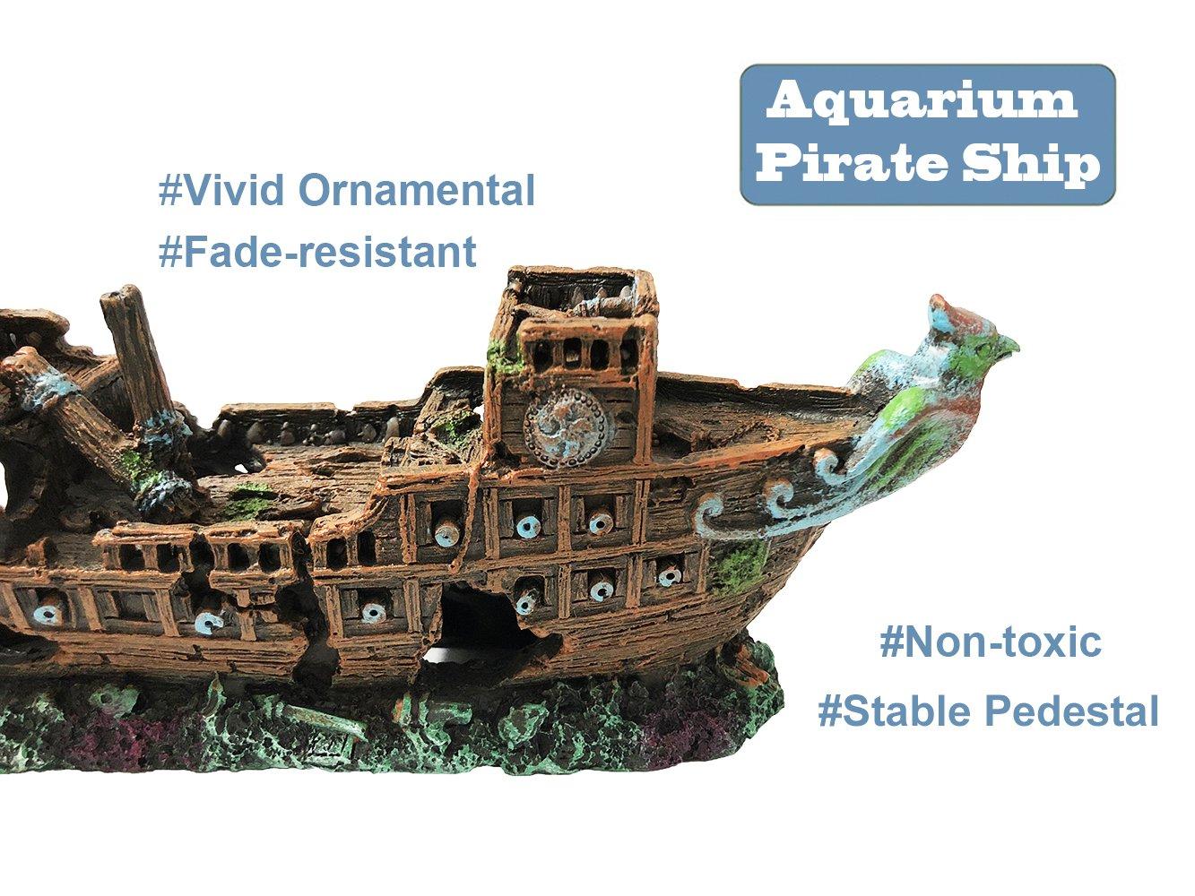 Eco Friendly For Freshwater Saltwater Aquarium Sunken Ship
