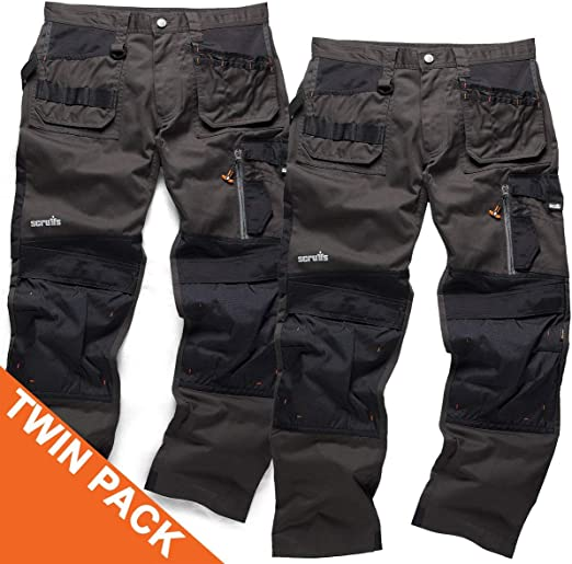 Scruffs 3D Trade Trouser Work Cordura Holster Pants Knee Pad TWIN PACK GRAPHITE