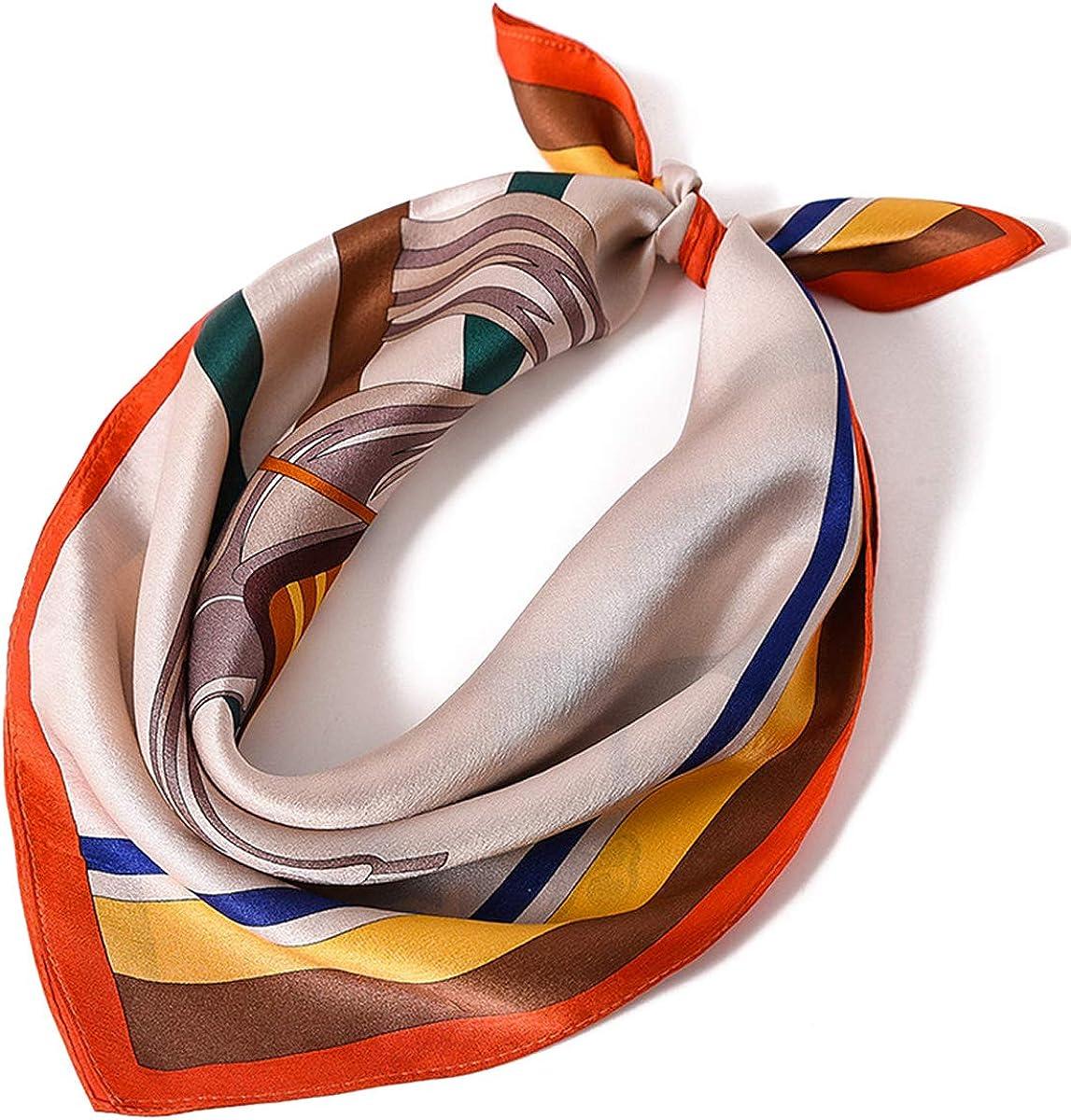 LumiSyne Bufandas De Seda Mujer Retro Bufanda Cuadrada Patrón De Caballo Satén Suave Decoración De Moda