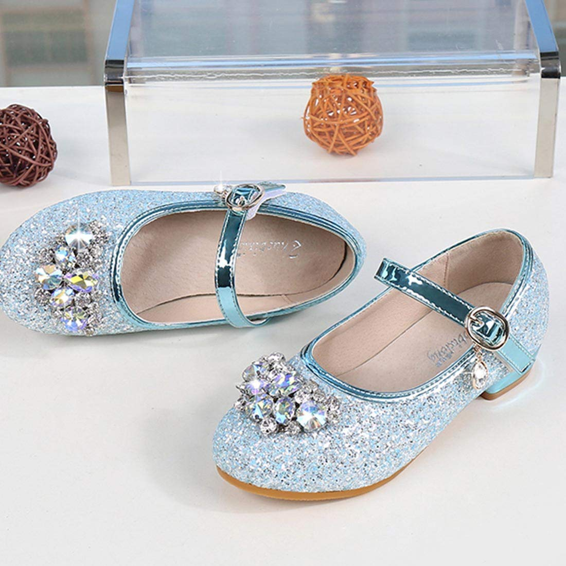 JTENGYAO Little Girls Shoes Sparkle Crystal Jane Mary Low Heels Bridesmaid Wedding Princess Party Dress Shoes